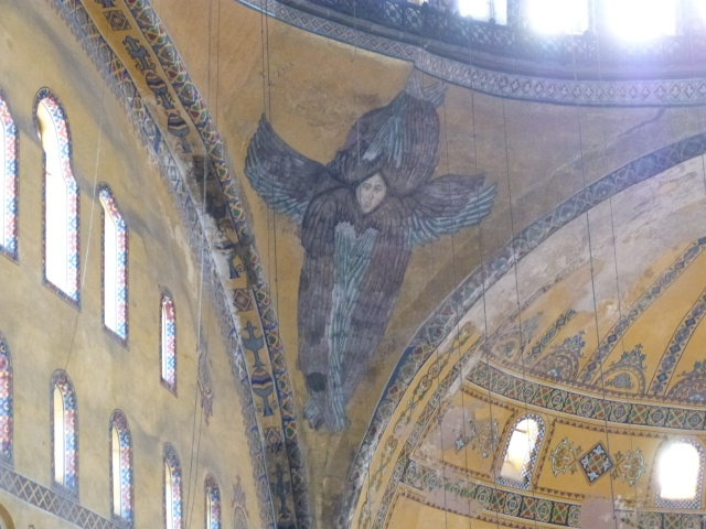 Archangels painted into the corners of the church