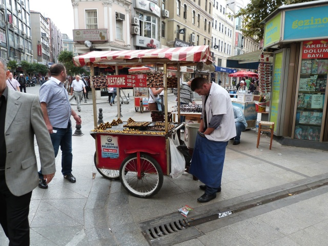 Chestnut sellers come out when the weather gets cool
